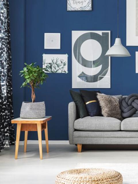 modern interior home blue wall painting Apopka FL