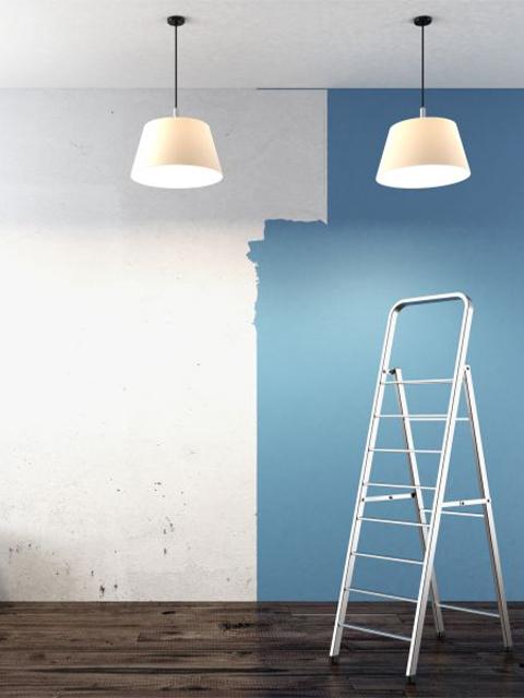 interior painting in progress blue wall oviedo